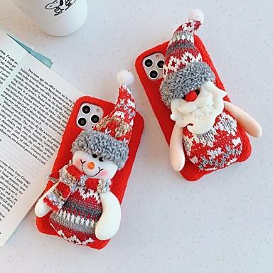 Недорогие Кейсы для iPhone X-Кейс для Назначение Apple iPhone 11 / iPhone 11 Pro / iPhone 11 Pro Max Защита от удара / С узором Кейс на заднюю панель Рождество / Плюш ТПУ