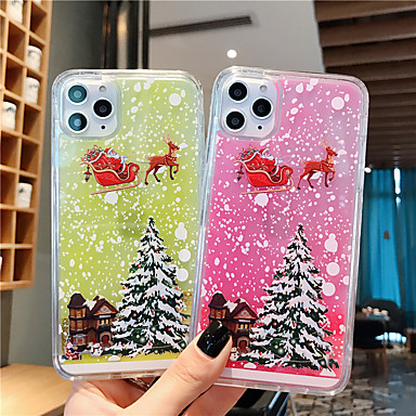 voordelige iPhone 6 hoesjes-hoesje Voor Apple iPhone 11 / iPhone 11 Pro / iPhone 11 Pro Max Glow in the dark / Stromende vloeistof / Transparant Achterkant Kerstmis PC