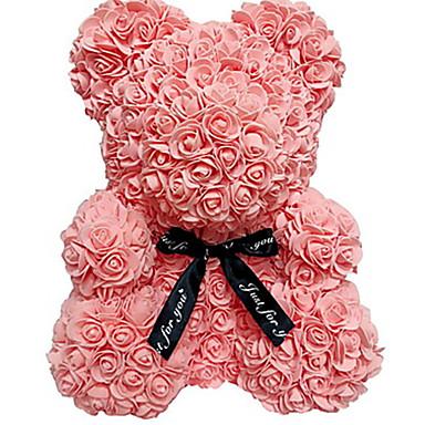 ieftine Decor Casă-25cm / 40cm înălțime simulare trandafir ursulet cuplu ursulet papusa jucărie decorare de Crăciun eternă floare cadou romantic ziua de Valentin
