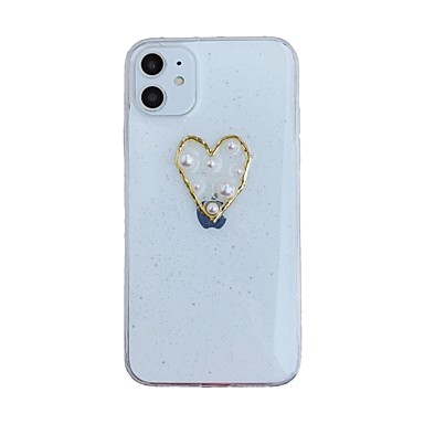 voordelige iPhone-hoesjes-hoesje Voor Apple iPhone 11 / iPhone 11 Pro / iPhone 11 Pro Max Transparant / Patroon Achterkant Hart / Transparant TPU