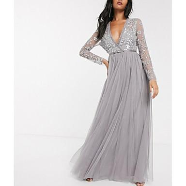 hesapli Balo Elbiseleri-A-Şekilli Zarif Resmi Akşam Elbise Boyun eğme çizgisi Uzun Kollu Yere Kadar Tül ile Pileler Payet 2020