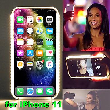 billige iPhone-etuier-Etui Til Apple iPhone 11 / iPhone 11 Pro / iPhone 11 Pro Max LED Bagcover Ensfarvet Plast