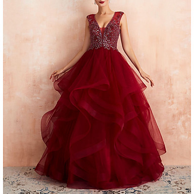 cheap Evening Dresses-A-Line Plunging Neck Floor Length Tulle Elegant Prom / Formal Evening Dress with Beading / Sequin 2020