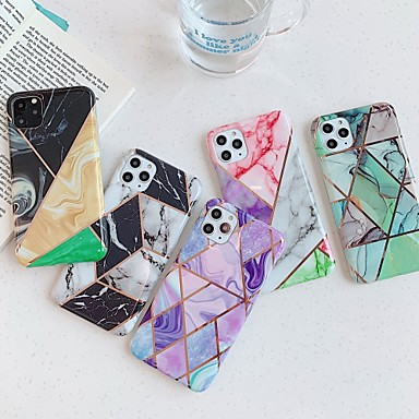 voordelige iPhone X hoesjes-hoesje Voor Apple iPhone 11 / iPhone 11 Pro / iPhone 11 Pro Max Beplating / IMD / Patroon Achterkant Marmer TPU