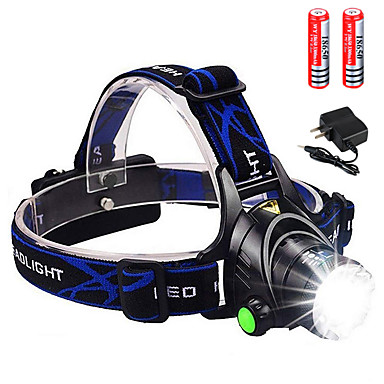 cheap Headlamps-Headlamps Headlight 3000 lm LED Emitters 3 Mode with 2x18650 Batteries and Charger Zoomable Portable UK USA EU Plug Camping / Hiking / Caving Cycling / Bike Hunting / Aluminum Alloy