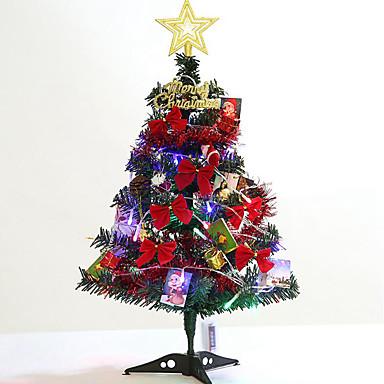 abordables Déco d'Intérieur-60cm petit ensemble de sapin de noël fournitures de décoration pour la maison petit arbre de noël avec jeu de lumières et accessoires