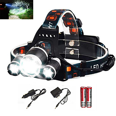 cheap Headlamps-Headlamps Headlight Waterproof Rechargeable 6000 lm LED Emitters 1 Mode with Batteries and Charger Waterproof Zoomable Rechargeable Super Light Camping / Hiking / Caving Everyday Use Diving / Boating