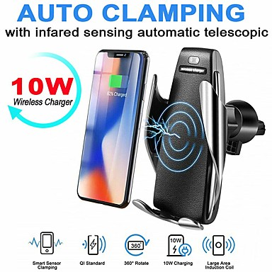 cheap Wireless Chargers-S5 Wireless Charger Automatic Sensor Car Wireless Charger For iPhone 11 Pro Max Xs Max Xr X Samsung S10 S9 Intelligent Infrared Fast Wirless Charging Phone Holder