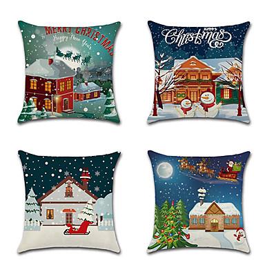 olcso Párnák-4 db vászon párnahuzat, ünnepi hópehely karikatúra karácsonyi dobás párna
