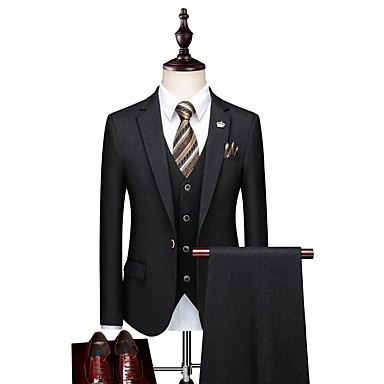 economico Smoking e completi-Nero / Blu / Grigio Tinta unita Taglio sartoriale Poliestere Tuta - Dentellato Monopetto - 1 bottone / Suits