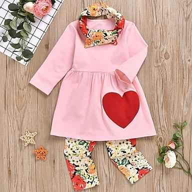 voordelige Meisjeskleding-Kinderen Meisjes Standaard Print Lange mouw Kledingset Blozend Roze