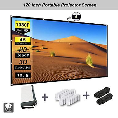 olcso Audió & videó kiegészítők-120 hüvelykes vetítővászon 169 hd-es összecsukható hordozható gyűrődésgátló-vetítő vetítővászon házimozi képernyő