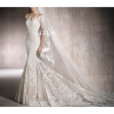 cheap Wedding Dresses-Mermaid / Trumpet Jewel Neck Chapel Train Lace Half Sleeve Made-To-Measure Wedding Dresses with Beading / Lace Insert 2020