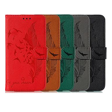رخيصةأون LG أغطية / كفرات-غطاء من أجل LG LG K30 / LG K50 حامل البطاقات غطاء كامل للجسم الريش جلد PU