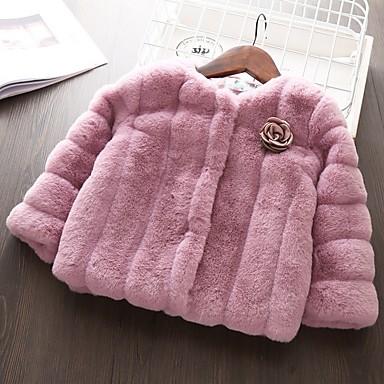 Недорогие Одежда для малышей-малыш Девочки Классический Однотонный Куртка / пальто Белый