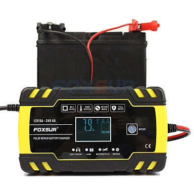 cheap Automotive Tools & Equipment-Foxsur Fully automatic Car Battery Charger 12V 8A 24V 4A Smart Fast Charging for AGM GEL WET Lead Acid Battery Charger LCD Display