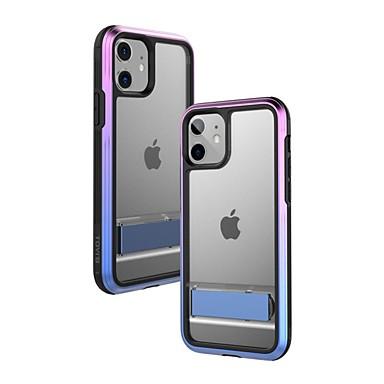 رخيصةأون أغطية أيفون-غطاء من أجل Apple اي فون 11 / iPhone 11 Pro / iPhone 11 Pro Max ضد الصدمات / مع حامل / تصفيح غطاء كامل للجسم شفاف TPU / الكمبيوتر الشخصي / معدن