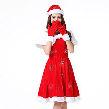 Santa Clothe Žene Odrasli Srednja škola Halloween Božić Božić Halloween Karneval Festival / Praznik Polyster odjeća Red Jednobojni Božić