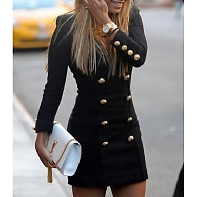 povoljno Mini suknje-Žene Mini Crn Haljina Ulični šik Izlasci Rad Korice Jednobojni Duboki V Dugme S M