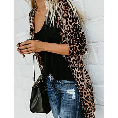 cheap Women's Tops-Women's Spring Fall Jacket Deep V Long Leopard Leopard Print Brown S / M / L