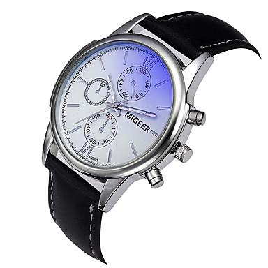 Недорогие Часы на кожаном ремешке-Муж. Нарядные часы Кварцевый На каждый день Секундомер Аналоговый Черный Синий Коричневый / Два года / Кожа / Светящийся / Два года