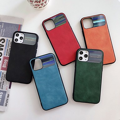 Недорогие Кейсы для iPhone 7-Кейс для Назначение Apple iPhone 11 / iPhone 11 Pro / iPhone 11 Pro Max Защита от удара / Зеркальная поверхность Кейс на заднюю панель Однотонный Кожа PU