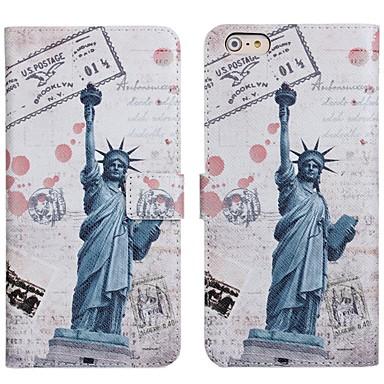 voordelige Mobiele telefoonhoesjes-hoesje Voor Apple iPhone 6s / iPhone 6 Kaarthouder / met standaard / Flip Volledig hoesje Tegel / Landschap PU-nahka