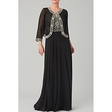 cheap Mother of the Bride Dresses-A-Line Jewel Neck Floor Length Chiffon Long Sleeve Elegant & Luxurious Mother of the Bride Dress with Beading 2020