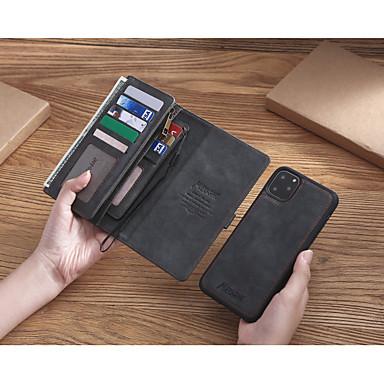 voordelige Mobiele telefoonhoesjes-hoesje Voor Apple iPhone 11 Pro Max / iPhone XS Max / iPhone 8 Plus Portemonnee / Kaarthouder / Schokbestendig Volledig hoesje Effen PU-nahka