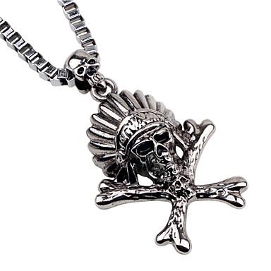 Недорогие Ожерелья-Муж. Ожерелья с подвесками Классический мини Простой Хром Серебряный 60 cm Ожерелье Бижутерия 1шт Назначение Повседневные