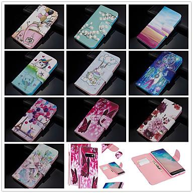 olcso Samsung tartozékok-Case Kompatibilitás Samsung Galaxy S9 / S9 Plus / S8 Plus Pénztárca / Kártyatartó / Ütésálló Héjtok Pillangó / Rajzfilm / Virág PU bőr / TPU