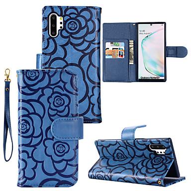 Недорогие Чехлы и кейсы для Galaxy Note-Кейс для Назначение SSamsung Galaxy S9 / S9 Plus / S8 Plus Бумажник для карт / Защита от удара Чехол Однотонный / Цветы Кожа PU
