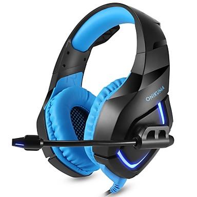 olcso Gaming fülhallgatók-onikuma k1-b játék fejhallgató vezetékes vezetékes sztereo mély basszus fejhallgató mikrofonnal a ps4 új xbox pc telefonjáték pub fülhallgató