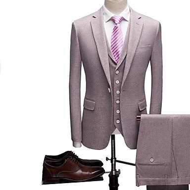 baratos Smokings & Ternos-Roxo / Cinzento Sólido Moderno Poliéster Terno - Notch / Paletó Comum 1 Botão / Suits