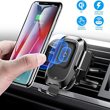 cheap Wireless Chargers-Baseus Qi Car Wireless Charger Air Vent Automatic Mount Holder For iPhone 8 Plus XR X XS Max Samsung Galaxy S10 S10+ S10e S9 S8 Intelligent Infrared Sensor Fast Wireless Charging