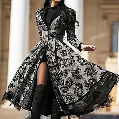 Недорогие Верхняя одежда-Жен. На выход Элегантный и роскошный / Элегантный стиль Пальто, Цветочный принт V-образный вырез / Лацкан с тупым углом Длинный рукав Полиэстер Черный
