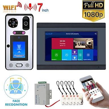 olcso Beléptető rendszerek-Mountainone sy709bglb11 vezetékes& amp; vezeték nélküli beépített hangszóró, 7 hüvelykes kihangosító, egy-egy videó ajtótelefon