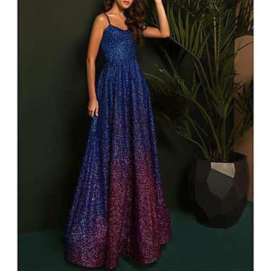 hesapli Balo Elbiseleri-A-Şekilli Zıt Renkler Balo Elbise Spagetti Askılı Kolsuz Yere Kadar Payetli ile 2020