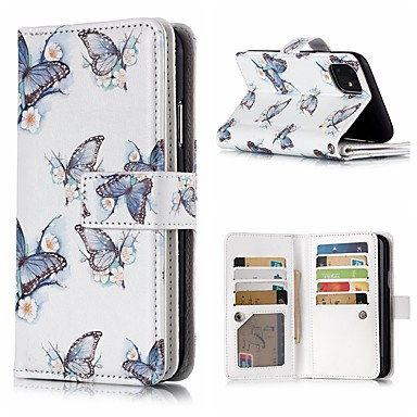 Недорогие Кейсы для iPhone 7 Plus-чехол для яблока iphone 11 / iphone 11 pro / iphone 11 pro max кошелек / держатель карты / флип чехлы для тела бабочка искусственная кожа для iphone xs / xs max / xs / x / 7/8 plus / 6 / 6s plus / 5 /