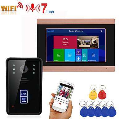 olcso Beléptető rendszerek-Mountainone sy709gmjid11 vezetékes& amp; vezeték nélküli beépített hangszóró, 7 hüvelykes kihangosító, egy-egy videó ajtótelefon