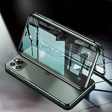 Недорогие Кейсы для iPhone-Кейс для Назначение Apple iPhone 11 / iPhone 11 Pro / iPhone 11 Pro Max Защита от удара Чехол Прозрачный / Однотонный Закаленное стекло / Металл