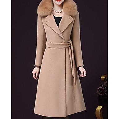 Недорогие Верхняя одежда-Жен. Повседневные Длинная Пальто, Однотонный Отложной Длинный рукав Шерсть / Полиэстер Верблюжий / Лиловый / Винный