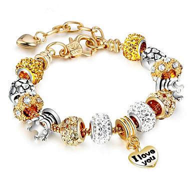 levne Řetízkové náramky-Dámské Řetězové & Ploché Náramky Geometrické Kytky Módní Štras Náramek šperky Zlatá Pro Dar Denní