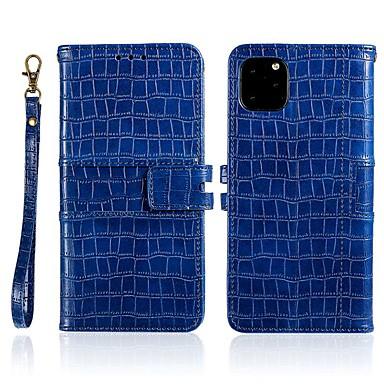 billige Telefonetuier-Etui Til Apple iPhone 11 / iPhone 11 Pro / iPhone 11 Pro Max Lommebok / Kortholder / med stativ Heldekkende etui Ensfarget PU Leather