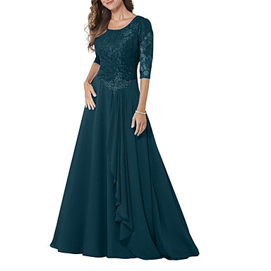 cheap Mother of the Bride Dresses-A-Line Jewel Neck Floor Length Chiffon / Lace Half Sleeve Elegant & Luxurious Mother of the Bride Dress with Beading / Ruching 2020 / Bell Sleeve