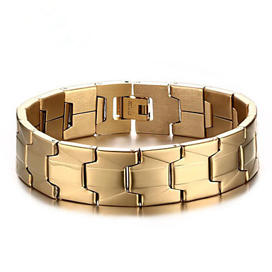 رخيصةأون أساور-رجالي أساور السلسلة والوصلة هندسي عمودي موضة معدني مجوهرات سوار ذهبي من أجل مناسب للبس اليومي عمل