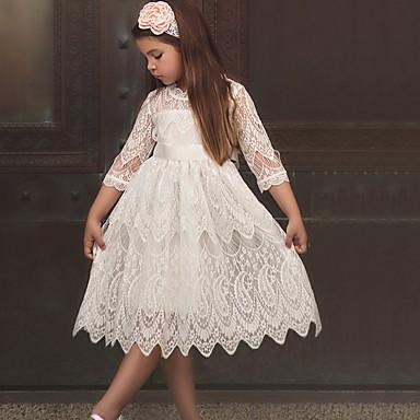 voordelige Meisjeskleding-Peuter Meisjes Kleurenblok Halve mouw Boven de knie Jurk Wit