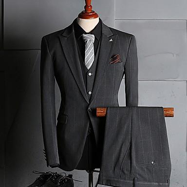 economico Smoking e completi-Grigio A strisce Taglio sartoriale Poliestere Tuta - A lancia Monopetto - 1 bottone / Suits