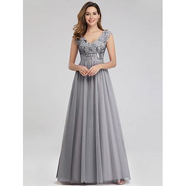 cheap Prom Dresses-A-Line V Neck Floor Length Nylon / Spandex / Tulle Elegant Formal Evening Dress with Appliques 2020