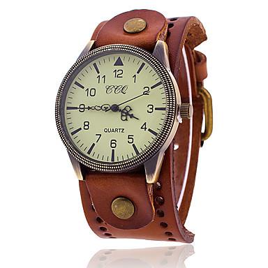 ราคาถูก นาฬิกาข้อมือ-สำหรับผู้หญิง นาฬิกาสร้อยข้อมือ นาฬิกาอิเล็กทรอนิกส์ (Quartz) รูปแบบชุดเป็นทางการ สไตล์วินเทจ หนังแท้ ดำ / น้ำตาล ไม่ เท่ห์ ปุ่มหมุนขนาดใหญ่ วันที่ ระบบอนาล็อก ไม่เป็นทางการ แฟชั่น - สีดำ สีน้ำตาล